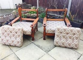 Pair of retro vintage wooden armchairs