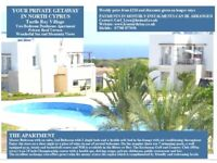 Cyprus Penthouse Apartment, sleeps 6, 7 pools, tennis courts, gym and bars on site.