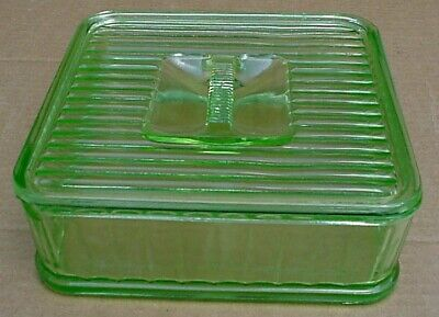 GREEN DEPRESSION GLASS RIBBED OBLONG 8