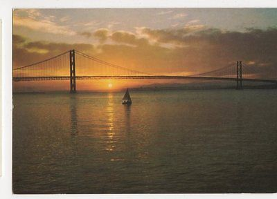 Late Summer Sunset Through The Forth Road Bridge Old Postcard  203a