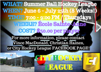 Summer Recreational CO-ED Ball Hockey League! (14+)