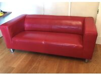 Red Leather Contemporary Sofa
