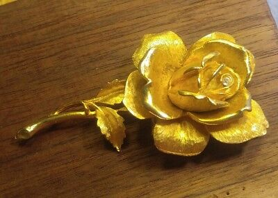 (Large Vintage Gold Rose Brooch~ Textured and Bright Finish w/ Rhinestone Center)