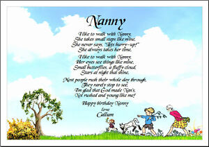 P34 Personalised laminated poem gift- Nanny