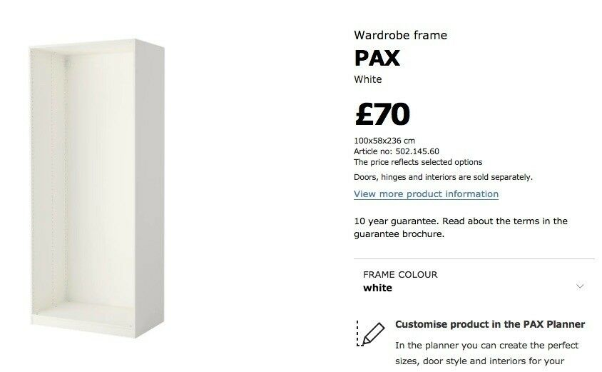 Ikea Pax White Tall Double Wardrobe with 2 x Fardal High Gloss white doors  - Can Deliver Locally   in Willesden, London   Gumtree