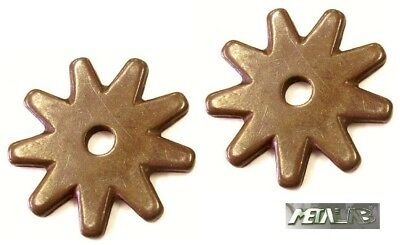 """Brass Replacement Western Spur Rowels Pair 5 Point Notched Star Design 1/"""""""