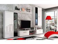 White high gloss wall unit (TV stand, cabinets, shelf)