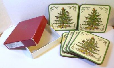 6 SPODE CHRISTMAS TREE COASTERS in Orignal Box Cork Backed Made in England