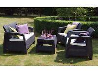 New Patio Garden Furniture Set - Keter Corfu Lounge Set