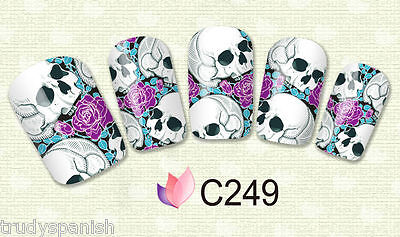 Nail Art Water Decals Full Wraps Transfers Purple Halloween Skulls Gel Polish](Purple Halloween Nail Art)