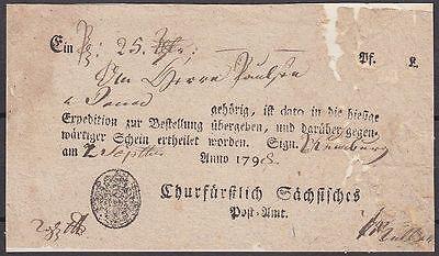 Vorphila Sachsen 1798 Postschein sächsisches Post Amt