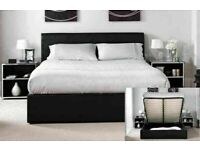 AMAZING OFFER !DOUBLE LEATHER STORAGE OTTOMAN BED - MATTRESS OPTIONAL