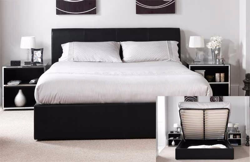BLACK OR BROWN! NEW DOUBLE LEATHER STORAGE GAS LIFT UP BED FRAME WITH WIDE RANGE OF MATTRESSES