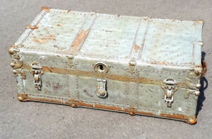 Cool antique wood and metal flat top trunk
