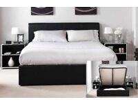 CHEAPEST PRICE GUARANTEED- NEW DOUBLE OR KING LEATHER OTTOMAN STORAGE BED WITH ORTHOPEDIC MATTRESS