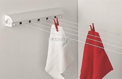 21m 5 Leinen Wäschleine ausziehbar weiß Wandtrockner automatisch Wäschetrockner