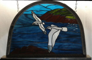 Seagull stained glass panel