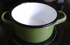 Green Enamel Pot