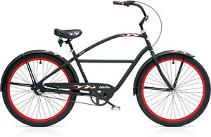 Electra RatRod 3i Retro Cruiser - Flat Black with Red Flames