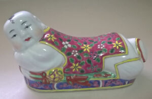 Vintage Famille Rose Porcelain Happy Buddha  Pillow Figurine