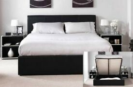 BLACK WHITE OR BROWN-- BRAND NEW GAS LIFT DOUBLE AND KING SIZE LEATHER BED WITH DEEP QUILT MATTRESS