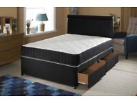 New 4ft6 Double or 5ft King Divan Bed With 4draws And Orthopaedic or memory top mattress