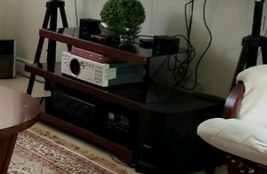 Tv stand and rocking chair with foot stool