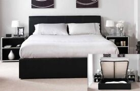 cheap price- brand new double or king ottoman leather storage bed frame and orthopedic mattress