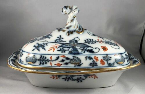 Antique Meissen Germany RICH BLUE ONION Gilded Covered Vegetable Tureen Dish