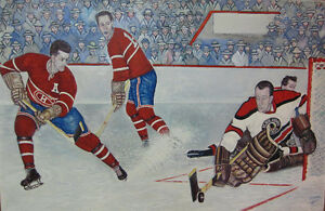 "**PLACE AU HOCKEY"" Toile de hockey ''Guy Lafleur'' a la main"