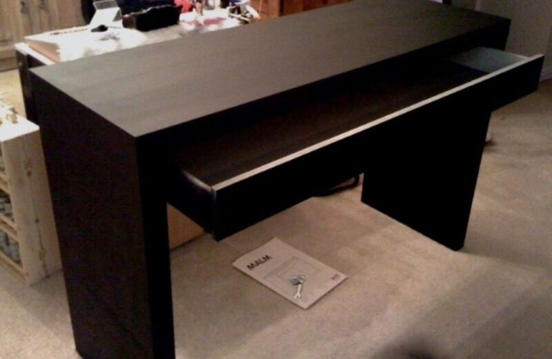 Ikea malm dressing table with glass top black brown in for Gumtree beauty table