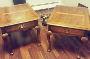 2 solid oak end tables 2' high