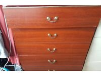 Brown 5 drawer chest drawers in reasonable condition