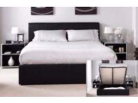 【MODERN DESIGN】SINGLE/ DOUBLE/ KING OTTOMAN STORAGE LEATHER BED BLACK BROWN - MATTRESS OPTIONAL
