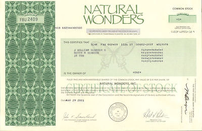 Natural Wonders > specialty gift store > California stock certificate share