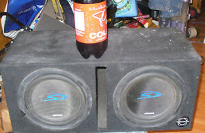 Alpine 10 inch sub speakers and wooden trunk box