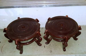 Oriental chinese wooden fish bowl stand planter pot stand