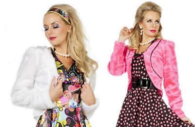 50er Jahre Kostüm Rock n Roll Damen Disco Rockabilly Plüsch Bolero Fell Jacke
