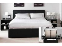 BLACK BROWN AND WHITE-BRAND NEW DOUBLE / KING LEATHER OTTOMAN STORAGE BED WITH POCKET ORTHO MATTRESS