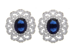 925 Silver Custom Earrings Oval Sapphire Blue Swarovski