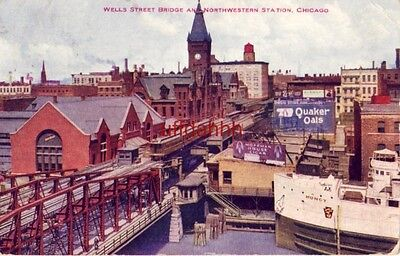 1914 Wells Street Bridge And Northwestern Station  Chicago