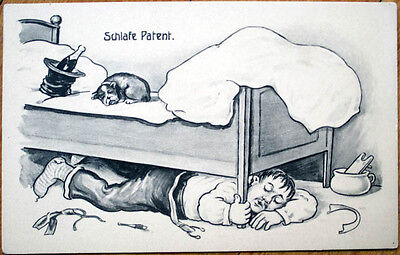 1910 Postcard: Drunk Man Sleeping Under Bed, Dog, Champagne