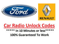 Radio Unlock Code for FORD M Fiesta Mondeo Focus etc and RENAULT *Within minutes*