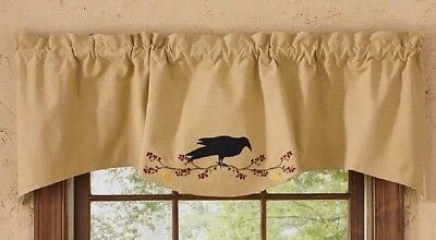 CROW BERRY VINE STAR Window Curtain VALANCE Primitive Farmhouse Country Applique