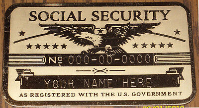 Metal Social Security Id Card Eagle Custom Engraved