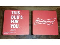 8 Brand New Collectable Budweiser Pint Glasses & 16 Budweiser Coasters For £10