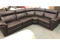 Brown leather large 5 seater corner sofa