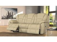 BRAND NEW 3 seater electric recliner sofa & electric recliner chair in Venetian Cream FABRIC