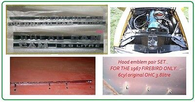 1967 Firebird Hood Emblem Set Ohc overhead Cam 3.8 Litre Pr
