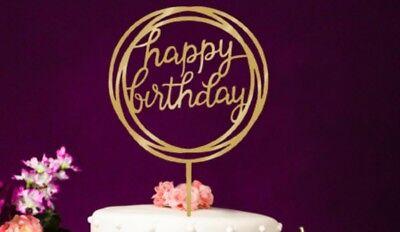 TORTENFIGUR CAKETOPPER TORTENSTECKER HAPPY BIRTHDAY GOLD GEBURTSTAG  NEU ()